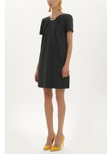 Societa Yakası Zincirli Yün Elbise 91715 Siyah